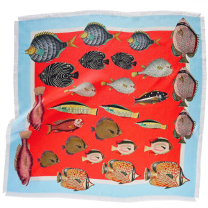 little fishes printed raspberry silk twill scarf with fringes