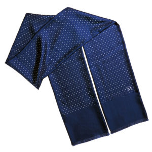 mens blue double silk polka dot scarf with fringes