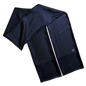 mens navy double silk polka dot scarf with fringes