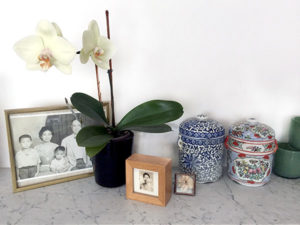 old pictures in the frame with decorative objects