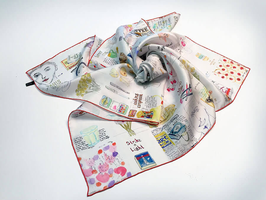 printed silk scarf with patchwork of aquarelle paintings