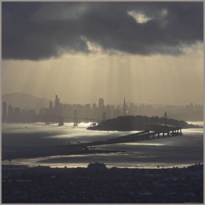 printed silk twill scarf with photo of san fransisco view