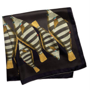 stripy camouflage fish printed dark color folded silk scarf