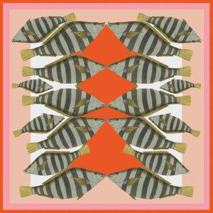 pink red stripy camouflage fish printed silk scarf design