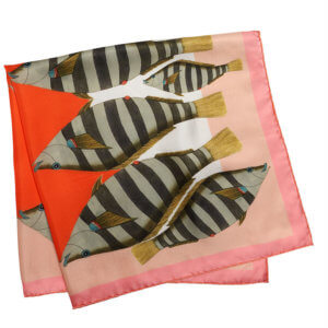 stripy camouflage fish printed pink red folded silk scarf