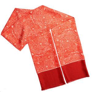 long red arabesque double silk scarf with fringe finishing