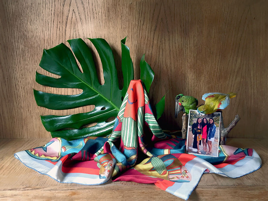 colorful red fish motif scarf with photo and leaf