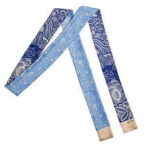 blue arabesque bi-color skinny long silk scarf