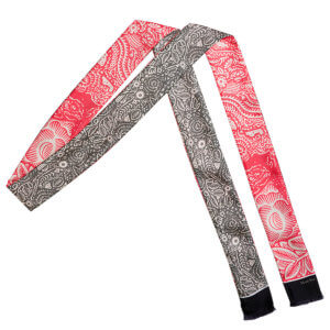 grey and pink arabesque bi-color skinny long silk scarf