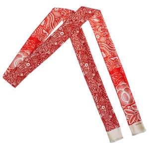 red arabesque bi-color skinny long silk twill scarf