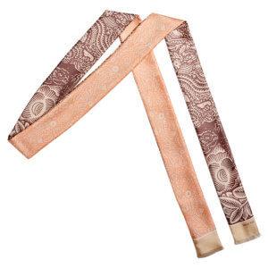 beige arabesque bi-color skinny long silk scarf