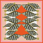 pink red stripy camouflage fish printed silk scarf design for mobile