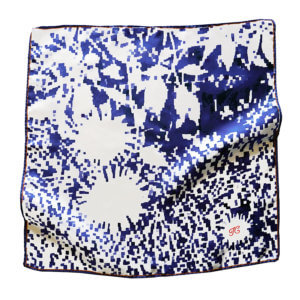 blue mosaic flower silk scarf with initial embroidered