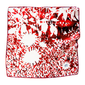 red mosaic flower silk scarf with initial embroidered