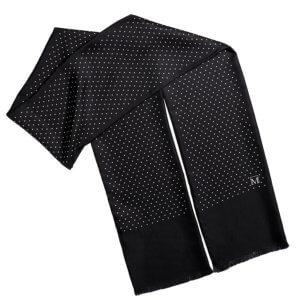 men's polka dot black silk scarf with fringe