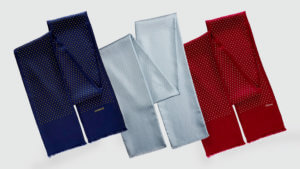 personalized polka dot men's scarves with printed names in colors