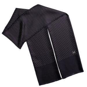 black polka dot printed men's silk scarf with fringes