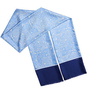 long blue arabesque double scarf with fringes