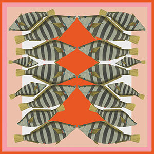 pink red stripy camouflage fish printed silk scarf design for sidebar