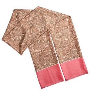 long pink arabesque double silk scarf with fringe finishing