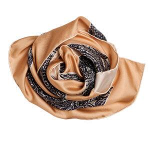 black andbeige arabesque printed silk twill scarf bundle