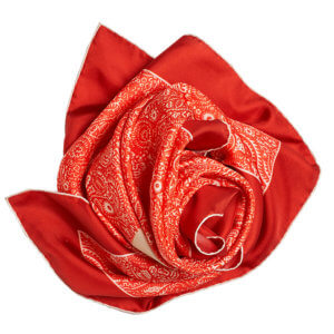red arabesque printed silk twill scarf bunched