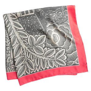 grey and pink arabesque printed silk twill scarf folded