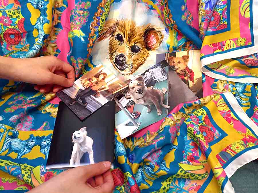 custom made scarf with printed dog and photos