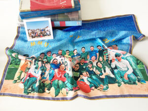 team printed silk scarf with original photo