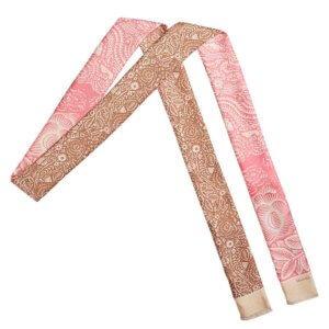 pink and beige arabesque bi-color skinny long silk scarf