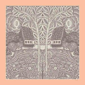 pink and grey arabesque printed silk scarf design