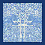 flowers trees houses printed blue and white silk twill scarf design for mobile