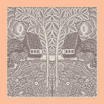 flowers trees houses printed grey and peach silk scarf design for mobile