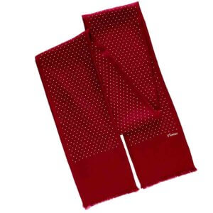 personalized red polka dot men's scarf with printed name