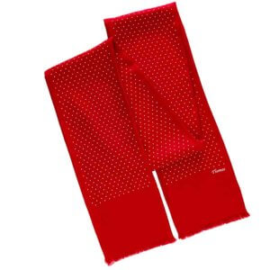 crimson red personalized polka dot men's scarf with printed name
