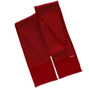 ruby red personalized polka dot men's scarf with printed name