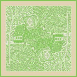 trees, flowers, houses printed green and cream silk scarf design