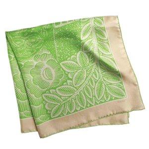 neighborhood printed green and cream silk scarf folded