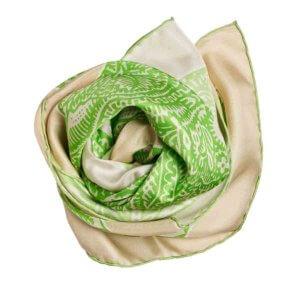 neighbor printed green and cream silk scarf bundle