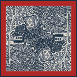 trees, flowers, houses printed navy and red silk scarf design