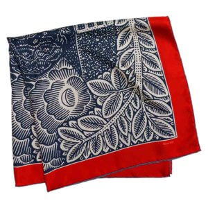 neighborhood printed navy and red silk scarf folded