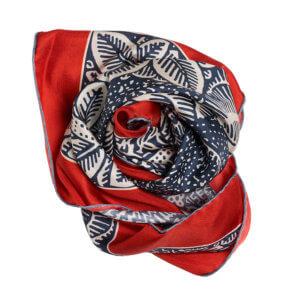 neighbor printed navy and red silk scarf bundle