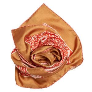 neighbor printed orange and tan silk scarf bundle