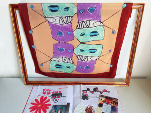 childrens drawing printed silk scarf with drawings