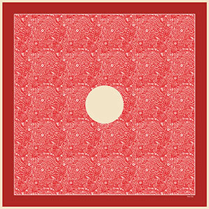 Universe - a red arabesque silk twill scarf folded - Luxury scarf Winter collection