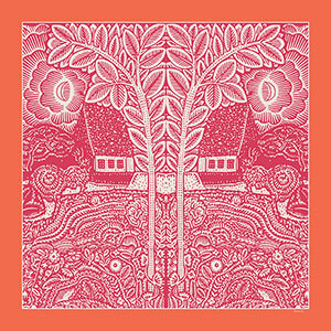 flowers trees houses printed orange and fuchsia silk twill scarf design for sidebar