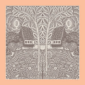 flowers trees houses printed grey and peach silk scarf design for sidebar