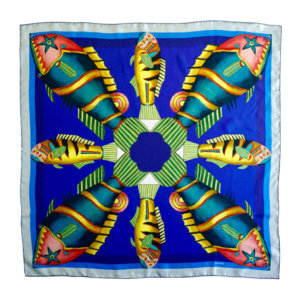 graphic fish printed blue silk twill small scarf