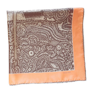 beige and white arabesque printed silk twill scarf folded