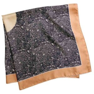 black and cream arabesque silk twill square scarf folded